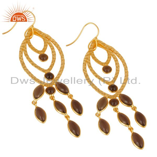 Exporter Traditional Handmade 14K Gold Plated Smokey Topaz Chandelier Brass Earrings