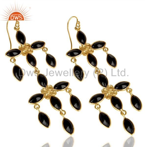 Exporter 14K Gold Plated Traditional Handmade Natural Black Onyx Chandelier Earrings