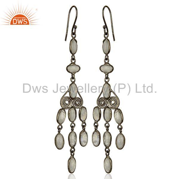 Exporter Rhodium Plated Rainbow Moonstone Fashion Earrings Jewelry Supplier