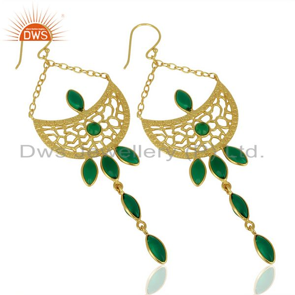 Exporter Green Stone Long Filigreen 14K Gold Plated Fashion Earring