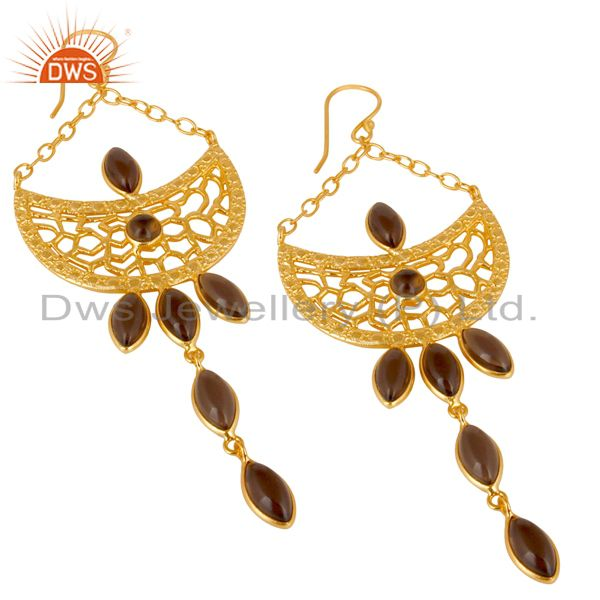 Exporter 14K Gold Plated Handmade Smokey Cut Pear Bezel Set Dangle Brass Earrings