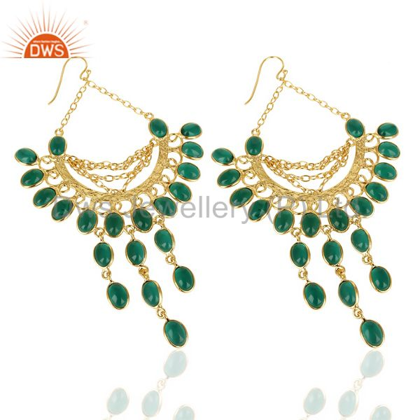 Exporter 14K Gold Plated Traditional Handmade Hydro Emerald Chandelier Dangle Earrings