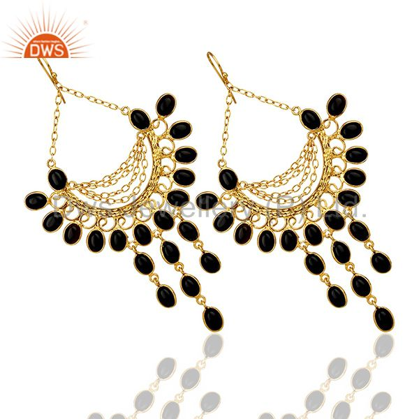 Exporter Black Honeycomb Large Dangle Gold Plated Fashion Earring Gift Jewelry