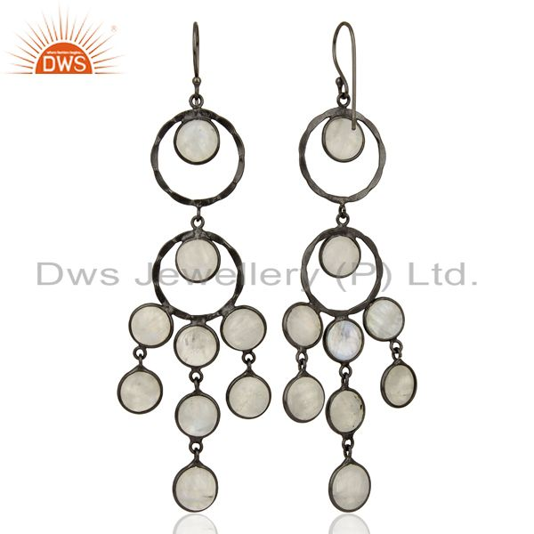 Exporter Handcrafted Oxidized Brass Rainbow Moonstone Designer Chandelier Earrings