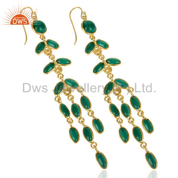 Exporter 14K Gold Plated Traditional Handmade Hydro Emerald Chandelier Fashion Earrings