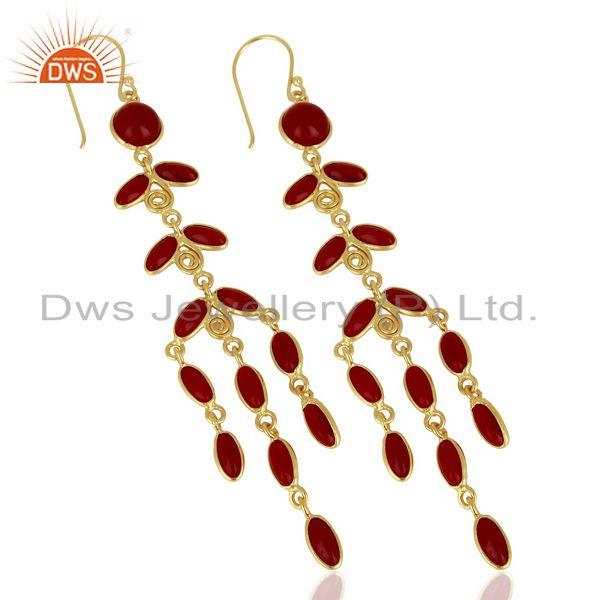 Exporter Red Hydro Long Leaf Pattern Gold Plated Fashion Wholesale Jewelry
