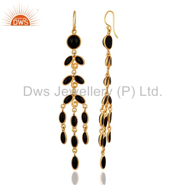 Exporter Genuine Semi Precious Gemstone Black Onyx 18K Gold Plated Long Dangle Earrings