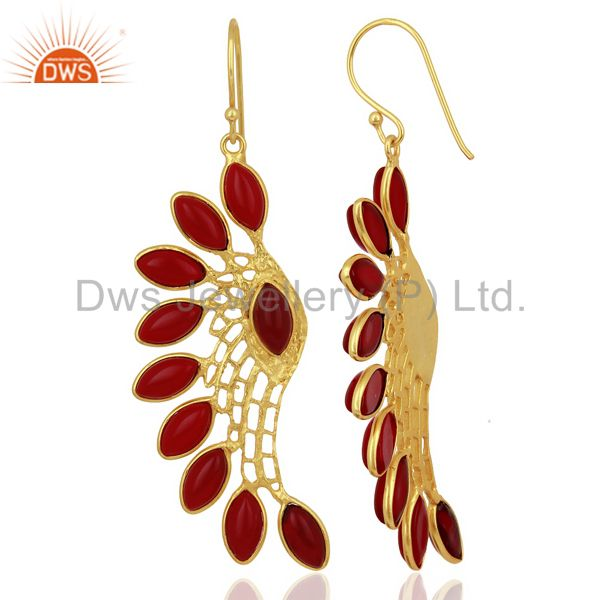 Exporter Red Hydro Wing Earring 14K Gold Plated Brass Fashion Jewelry