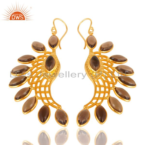 Exporter 14K Gold Plated Traditional Handmade Smokey Topaz Bezel Set Dangle Brass Earring