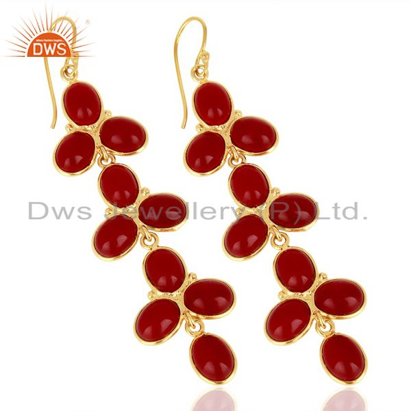 Supplier of Red Hydro flower Pattern Bezel 14K Gold Plated Fashion Wholesale Jewelry
