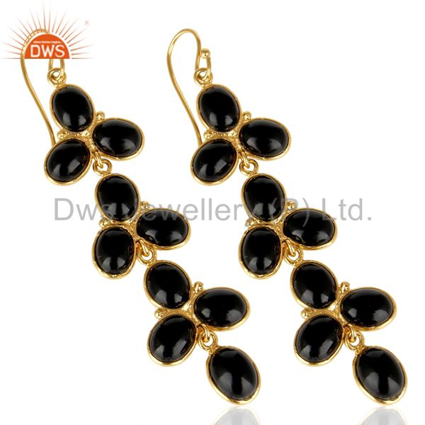 Exporter 14k Yellow Gold Plated Traditional Handmade Natural Black Onyx Dangle Earrings