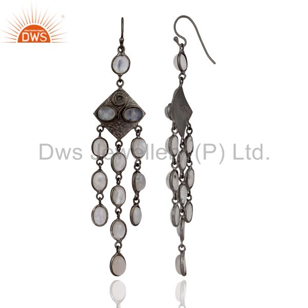 Exporter Handmade Chandelier Earrings Rhodium Plated Rainbow Moonstone Fashion Jewelry
