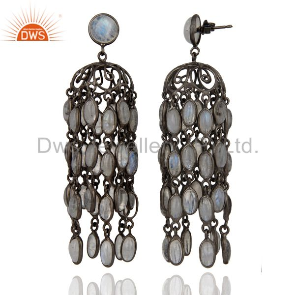 Exporter Amazing Extra Long Rainbow Moonstone Dangle Hook Earrings With Rhodium Plated