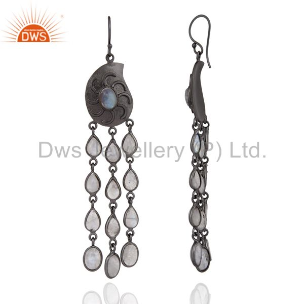 Exporter Black Rhodium Plated Over Brass Natural Rainbow Moonstone Dangle Earrings