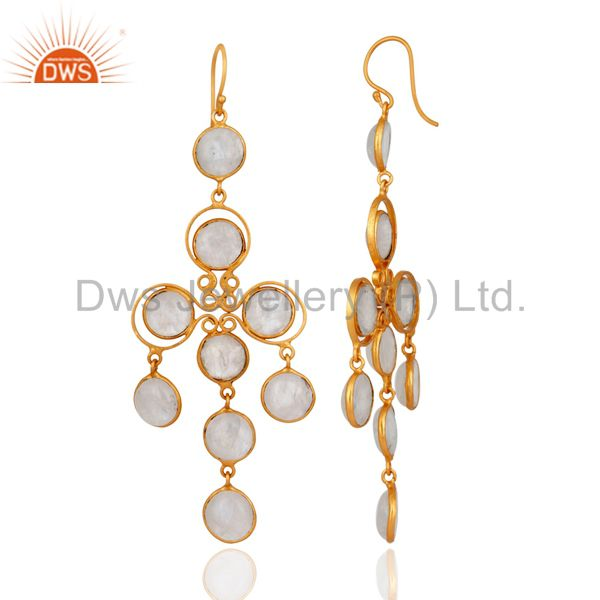 Exporter Handmade Rainbow Moonstone Earrings Made In Brass With Gold Plated