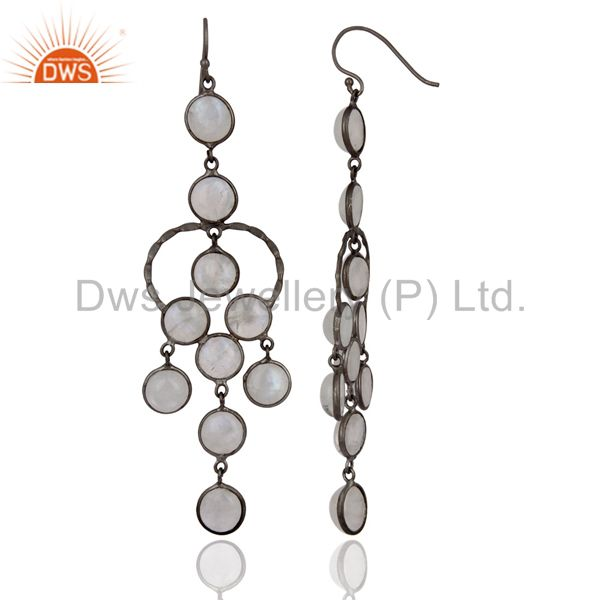 Exporter Natural Rainbow Moonstone Black Rhodium Plated Bridal Party Wear Earrings