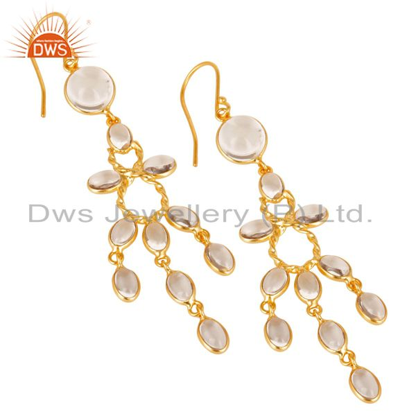 Exporter 14K Gold Plated Handmade Crystal Quartz Bridal Party Wear Hook Brass Earrings