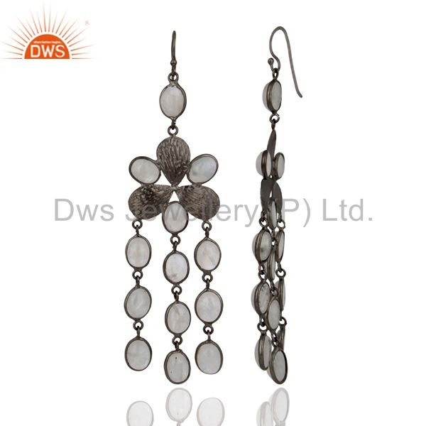 Exporter Indian Handcrafted Genuine Rainbow Moonstone Party Wear Long Fashion Earrings
