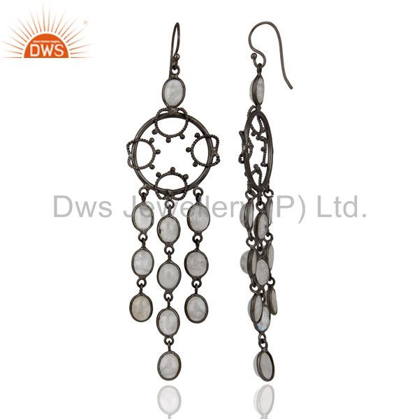 Exporter Rainbow Moonstone Rhodium Plated Party Wear Asian Style Long Dangle Earring