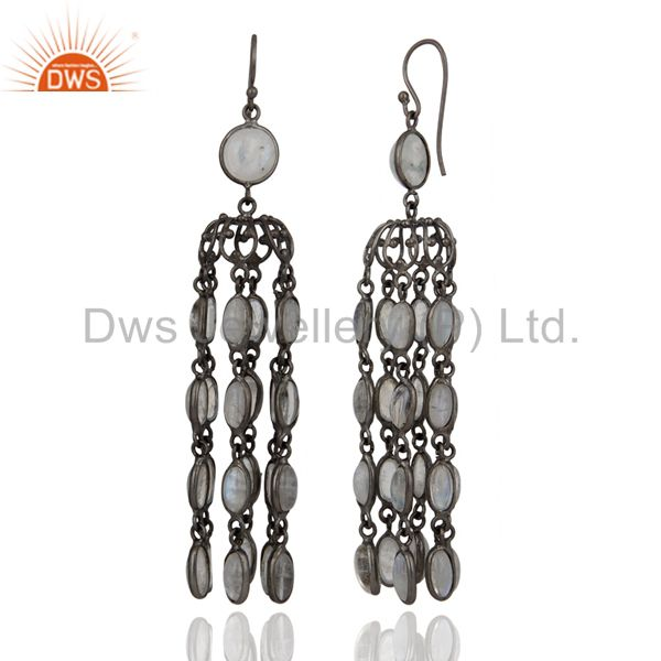 Exporter Bridal Party Wear Rhodium Plated Chandelier Rainbow Moonstone Earring Jewelry