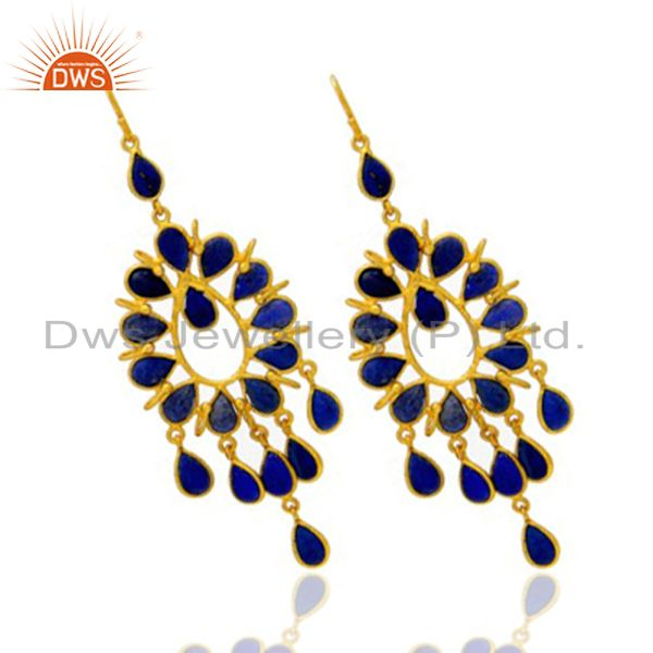 Exporter 22K Yellow Gold Plated Brass Lapis Lazuli Gemstone Fashion Chandelier Earrings
