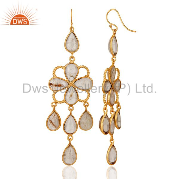 Exporter Untreated Natural Gemstone Rutilated Quartz 18K Yellow Gold Plated Earrings