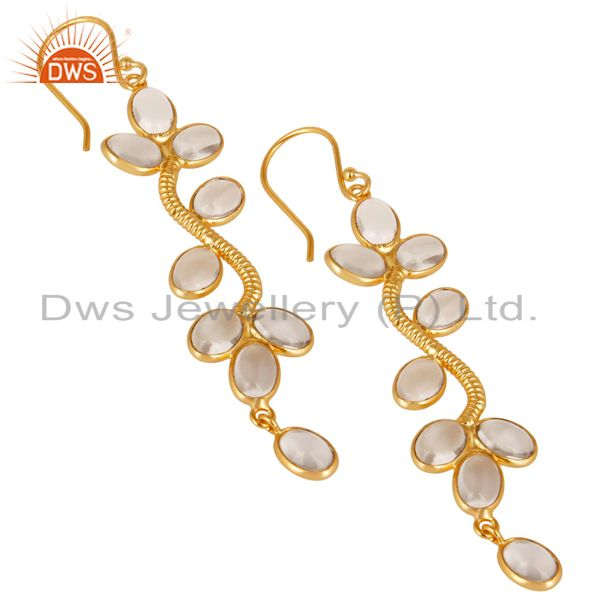Exporter 14K Yellow Gold Plated Handmade Crystal Quartz Bezel Set Dangle Brass Earrings