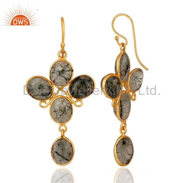 Exporter 24K Yellow Gold Plated Earrings With Semiprecious Stone Tourmalated Quartz