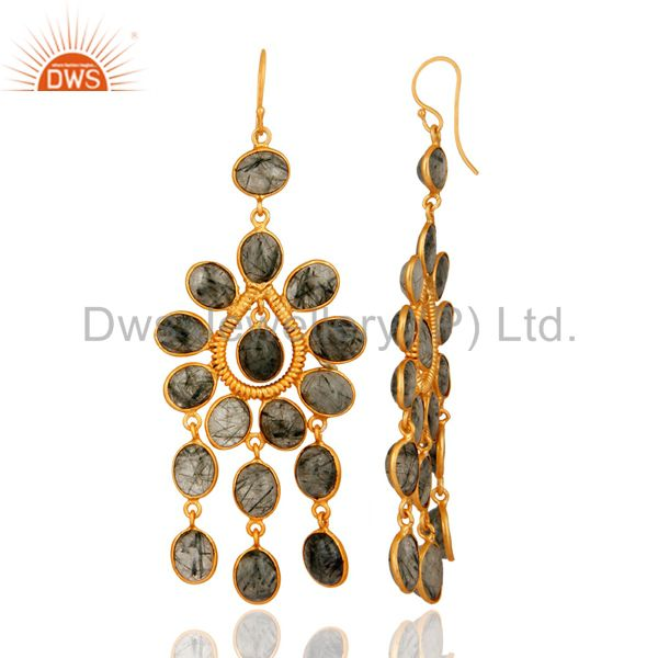Exporter Natural Tourmalinated Quartz Gemstone Earrings With 24k Yellow Gold Plated