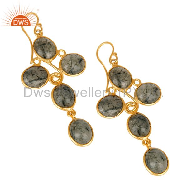 Exporter Natural Black Rutilated Quartz Earrings Made In 18k Gold Over Brass