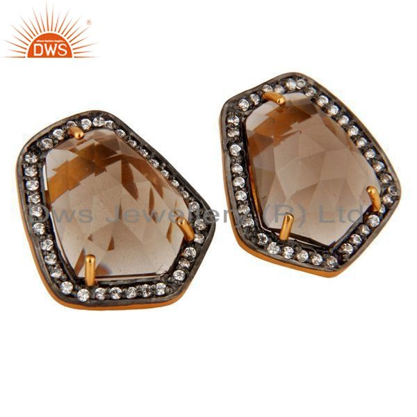 Exporter 18K Gold Plated 925 Sterling Silver Smoky-Quartz Gemstone Stud Earrings