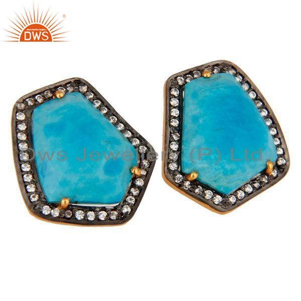 Exporter Turquoise Gemstone Stud Earring Made 18k Gold Over Sterling Silver With Zircon