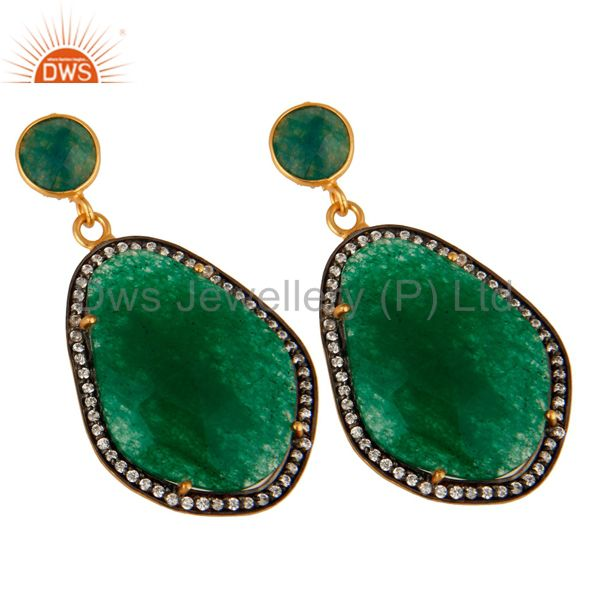 Exporter 18K Yellow Gold Plated Green Aventurine Prong Set Dangle Earrings With CZ