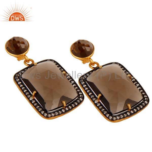 Exporter Smoky Quartz Gemstone Designer Earrings With CZ Made In 18K Gold Over Brass