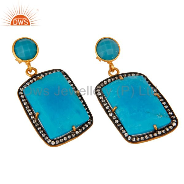Supplier of Turquoise Gemstone Prong Setting 18K Gold Plated Dangle Earrings With Zircon