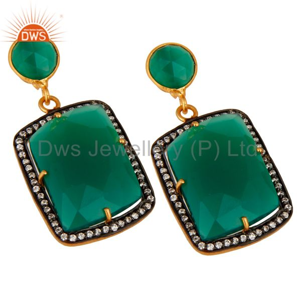 Exporter Faceted Green Onyx Gemstone Earrings With CZ In 18K Gold Over Brass Jewelry