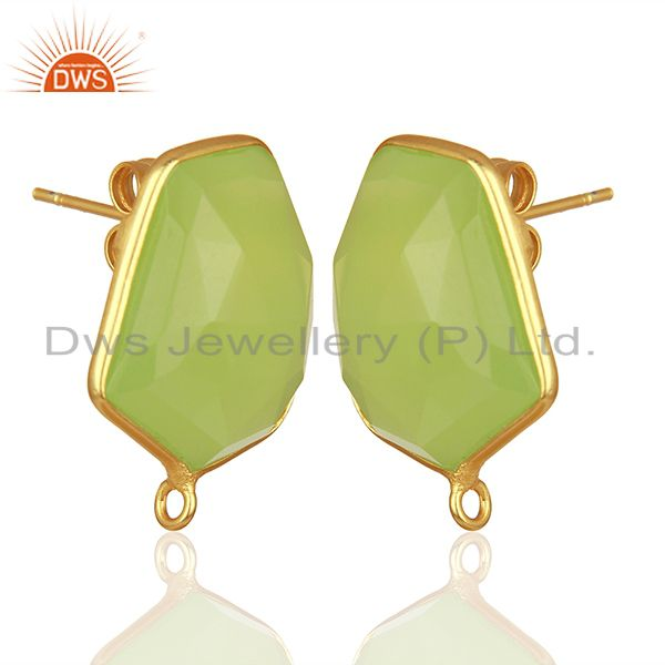 Exporter 18K Yellow Gold Plated Prehnite Chalcedony Stud Earring Connector Assesories