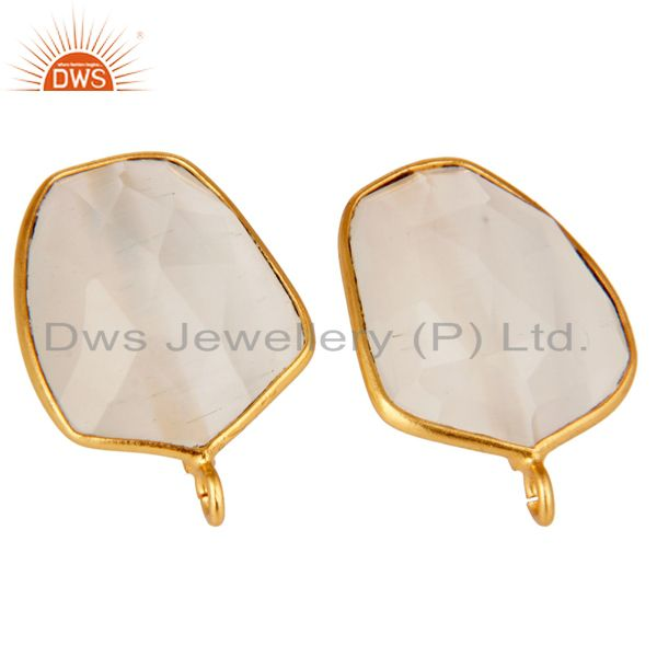Exporter 18K Yellow Gold Plated White Moonstone Stud Earring Jewelry Assesories