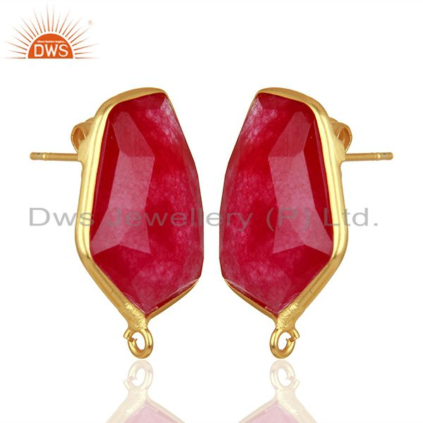 Exporter 18K Yellow Gold Plated Natural Red Aventurine Stud Earring Connector Assesories