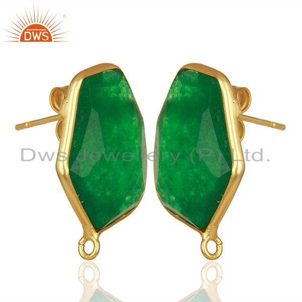Exporter 18K Yellow Gold Plated Natural Green Aventurine Stud Earring Jewelry Assesories