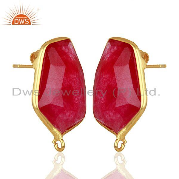 Exporter 92.5 Silver Yellow Gold Plated Red Aventurine Gemstone Stud Earring Findings