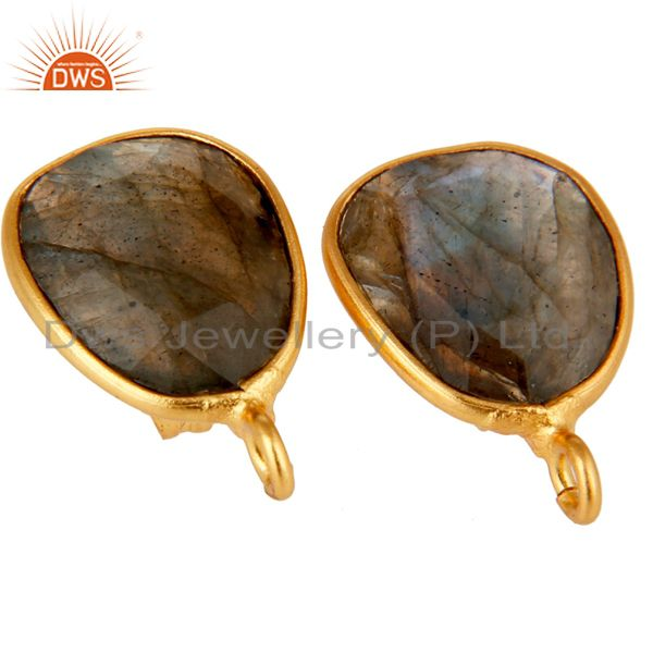 Exporter 18K Yellow Gold Plated Labradorite Stud Earring Jewelry Assesories Findings