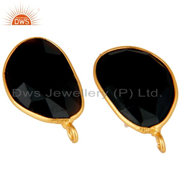 Exporter 18K Yellow Gold Plated Black Onyx Stud Earring Jewelry Assesories Findings
