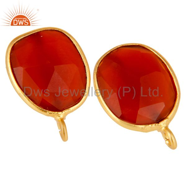 Exporter 18K Yellow Gold Plated Red Onyx Stud Earring Jewelry Assesories Findings