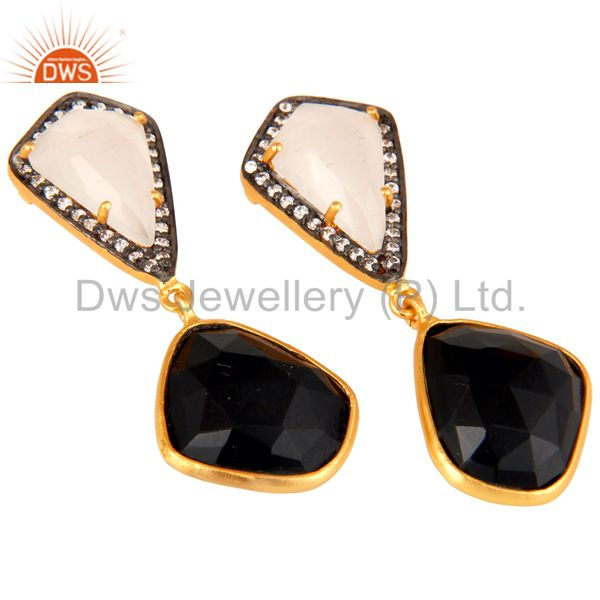 Exporter White Moonstone Black Onyx and White CZ 18K Gold Plated Dangler Drop Earring