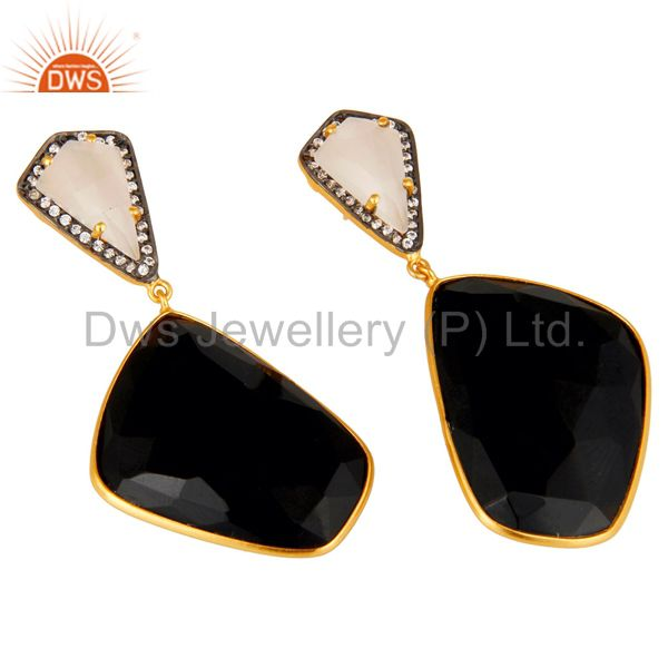 Supplier of Moonstone Black Onyx and White CZ 18K Gold Plated Dangler Drop Earring
