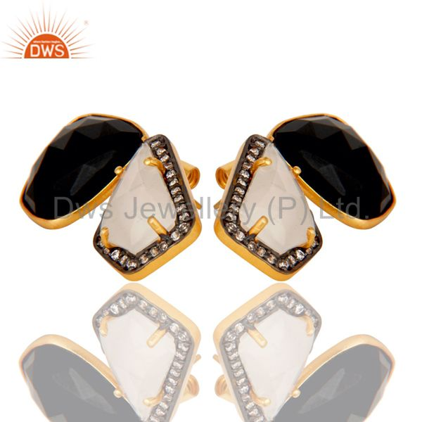 Exporter Moonstone Black Onyx and White CZ 18K Gold Plated Stud Earring Jewellery