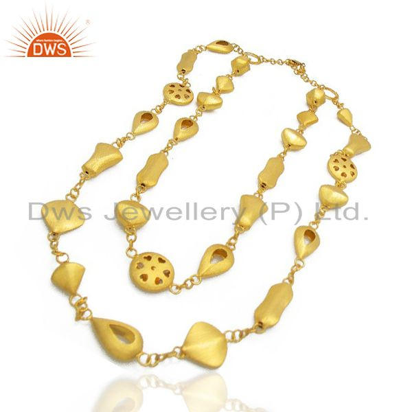 Exporter 24K Yellow Gold Plated Brass Matte Brushed Finish Designer Fashion Necklace