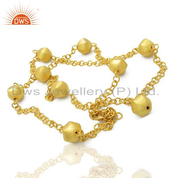 Exporter 22K Yellow Gold Plated Brass Matte Finish Link Chain Womens Fashion Necklace