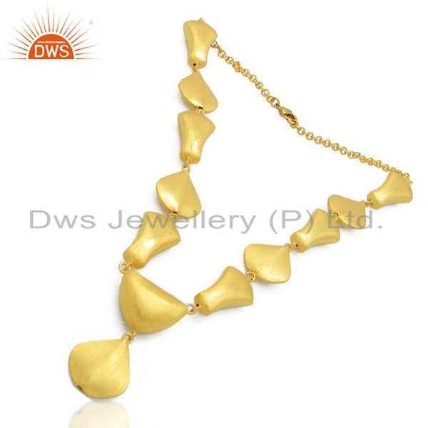 Exporter 24K Brushed Yellow Gold Plated Brass Designer Choker Necklace